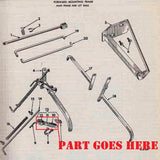 Front Cultivator Lift Arm Assembly for Farmall C, Super C, 200, 230 Tractors.
