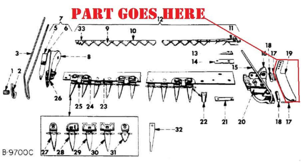 inner shoe for farmall cub tractor c22 and ih 22 sickle farmall 140 tractor parts diagram
