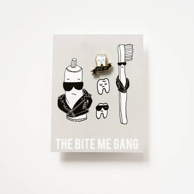 Bite Me Gang Pin + Postcard