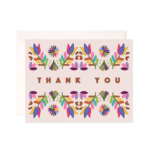 Folk Thank You Individual Greeting Card