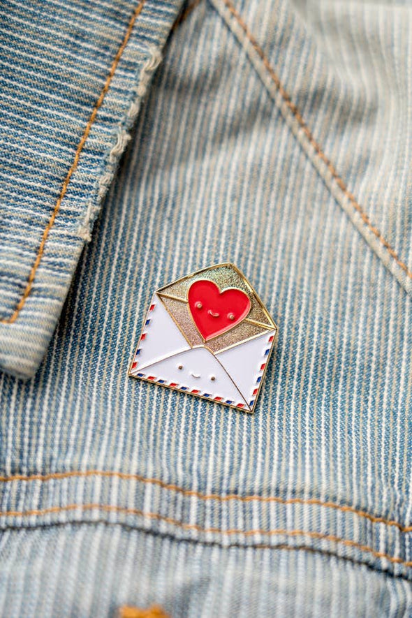 Send Love Snail Mail Envelope with Heart Enamel Pin