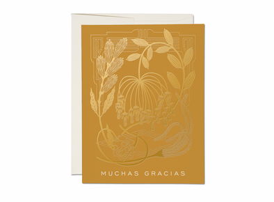 Mustard Foil Thank You Card