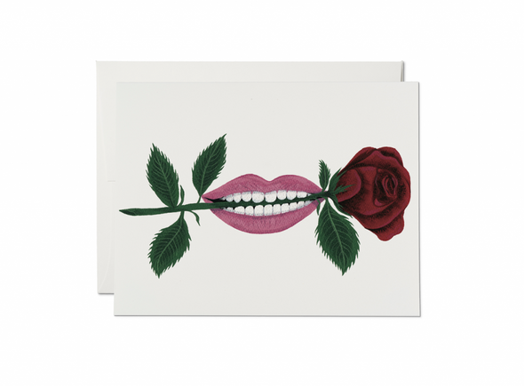 Rose in Mouth Love Card