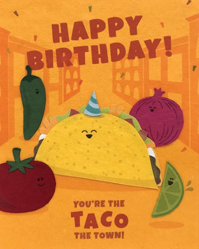 Taco the Town Birthday Card