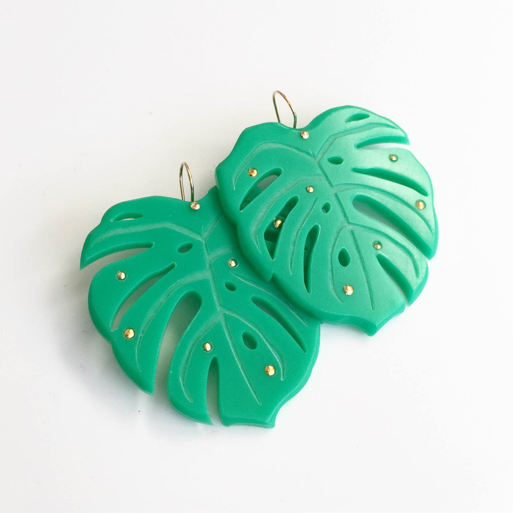 Monstera Leaf Gold Studs Dangle Earrings