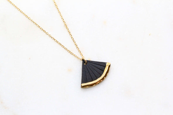 Black Gold Dipped Fan Necklace