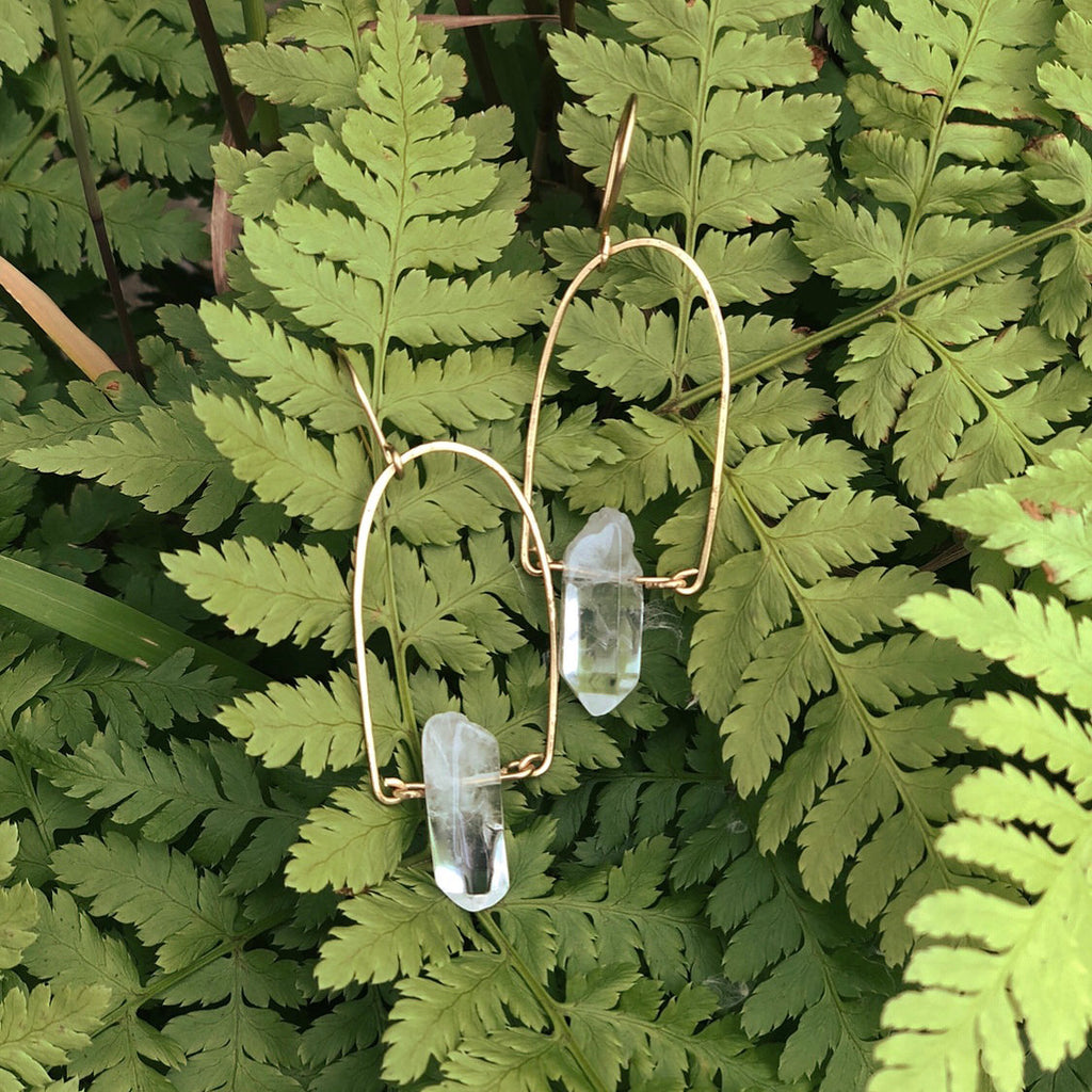 Quartz Fern Earrings