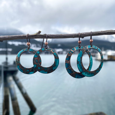 Patina Hollow Disc Earrings