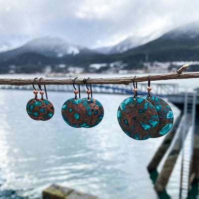 Patina Hammered Disc Earrings
