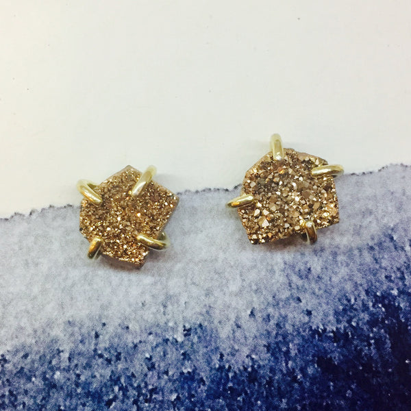 Free Form Rose Gold Druzy Studs