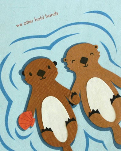 Otter Hold Hands Card