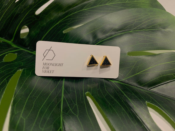 Gold Plate Triangle Studs