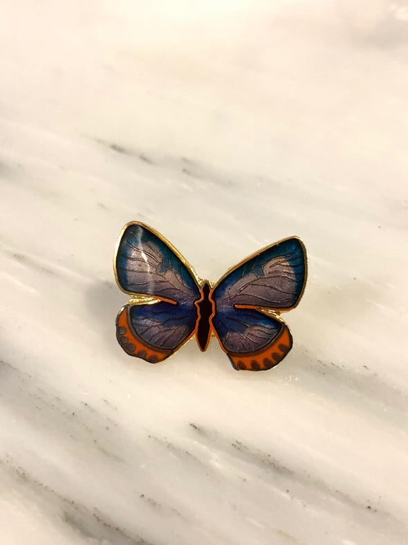 Silver Studded Blue Butterfly Pin