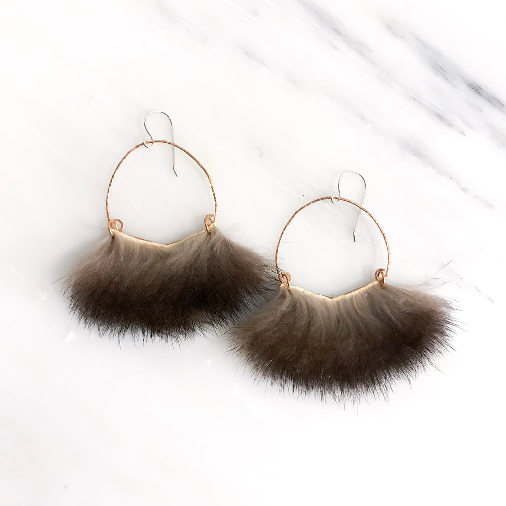 Large Dark Angular Sea Otter Earrings