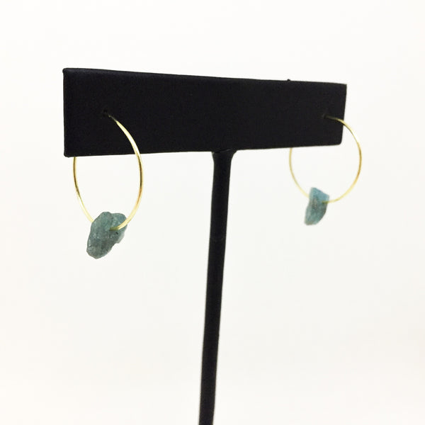 Small Raw Stone Hoops