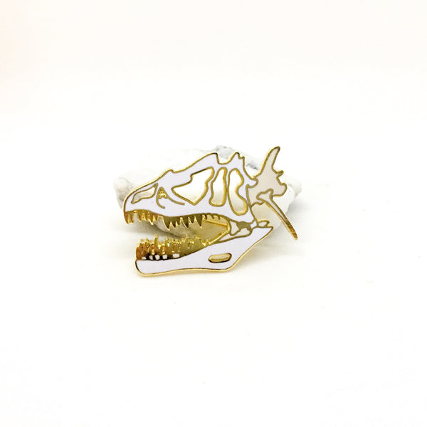 Allosaurus Skull White Pin