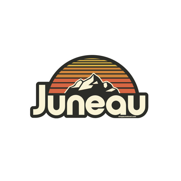 Juneau AK Striped Sunset Sticker