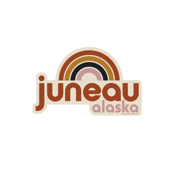 Juneau AK Warm Rainbow Sticker