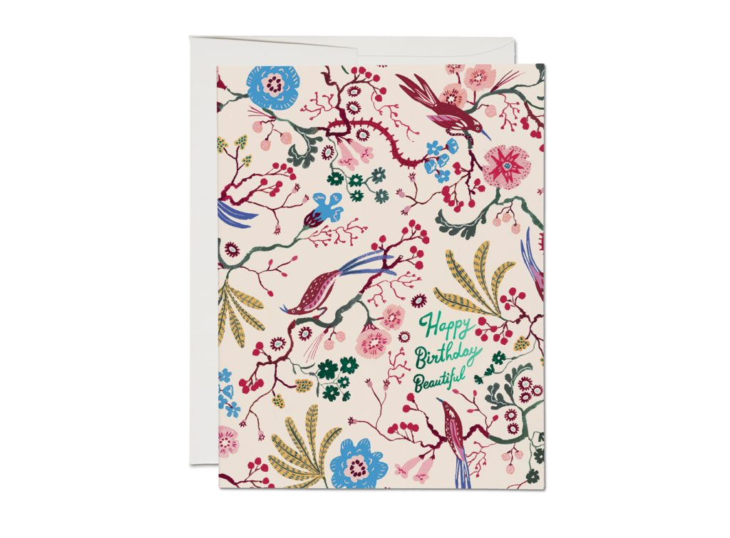 Brocade Bird Foil Birthday Card