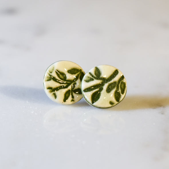 Ceramic Leaf Stud Earrings