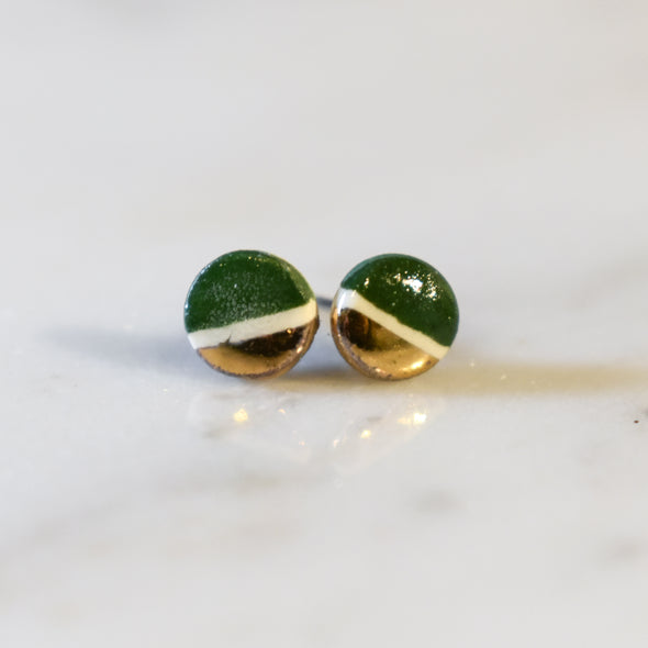 Tiny Ceramic Luster Stud Earrings