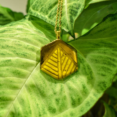 Yellow Hexagon Ceramic Luster Necklace
