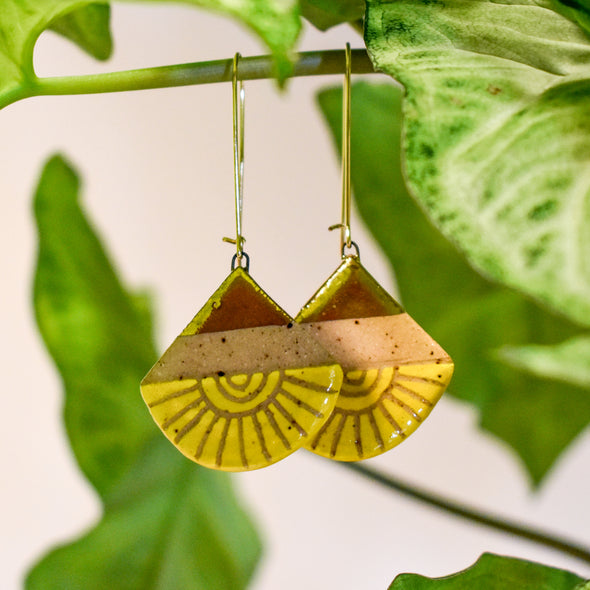 Yellow Sun Ceramic Luster Dangle Earrings