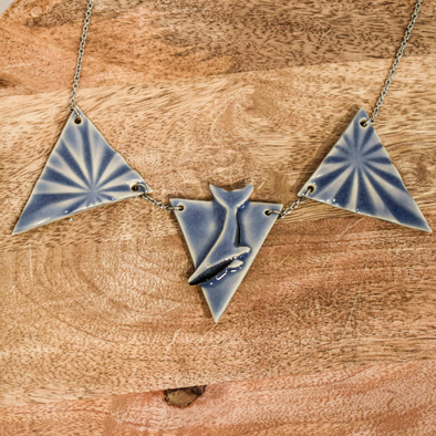 3 Triangles Ceramic Whale Necklace