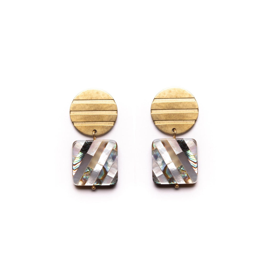 Striped Shapes Earrings with Shell