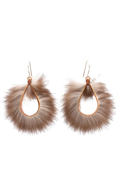 Large Wave Sea Otter Fur Earring