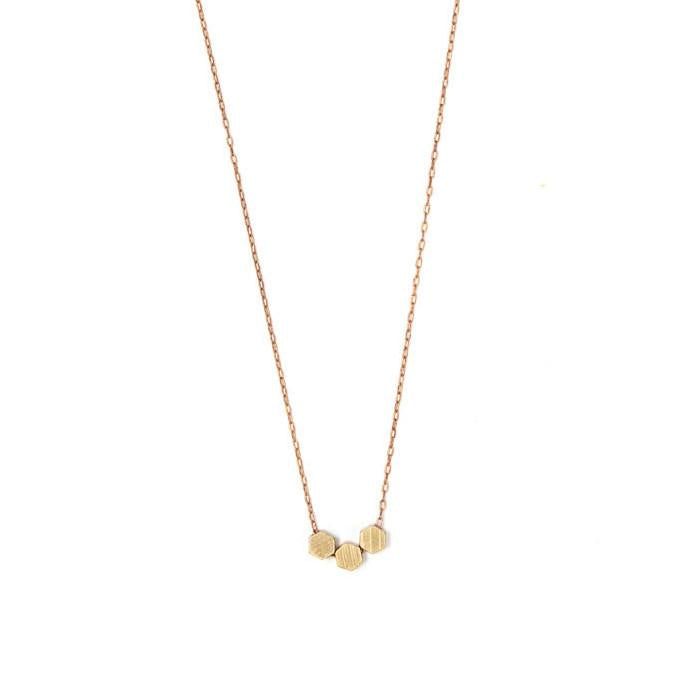 Mixed Metals Tiny Hexagon Necklace
