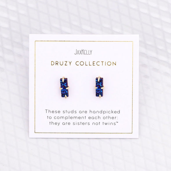 Free Form Peacock Druzy Studs