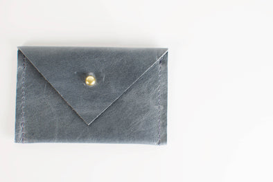 Card Wallet - Slate Blue Leather
