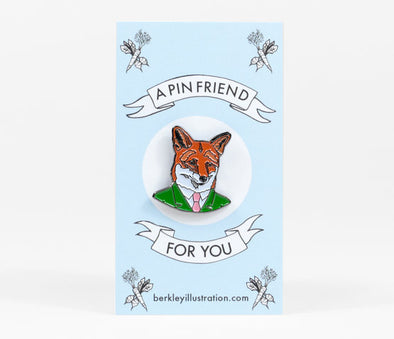 Fox Gentleman Enamel Pin