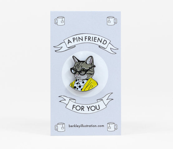 Tabby Cat Lady Enamel Pin