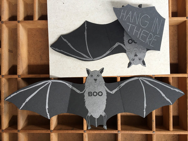 Bat Hang In There Boo Die-Cut Card