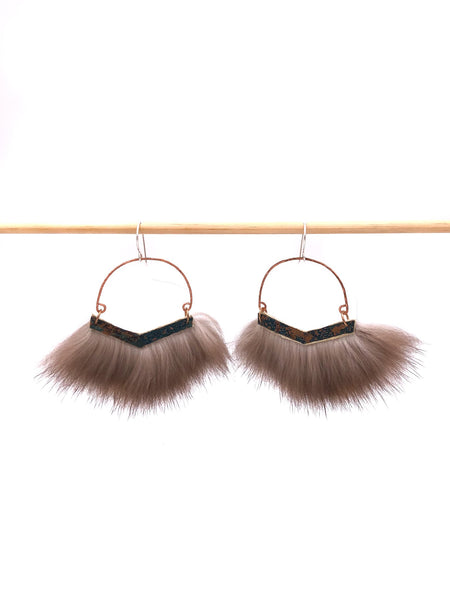 Patina Sea Otter Fur Earrings