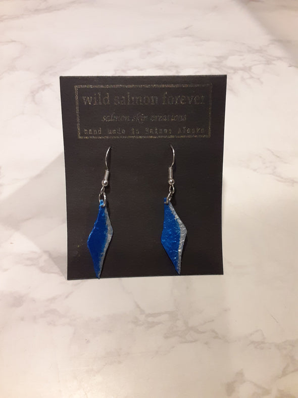 Small Blue / Silver Flame Earrings