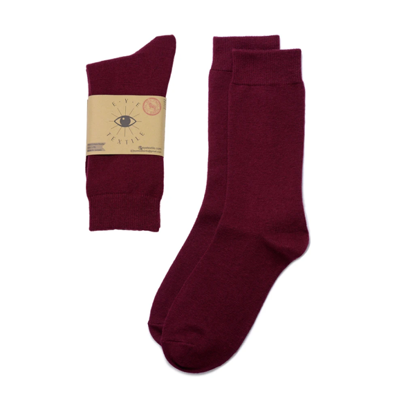 Burgundy Eye Textile Merino Wool Socks