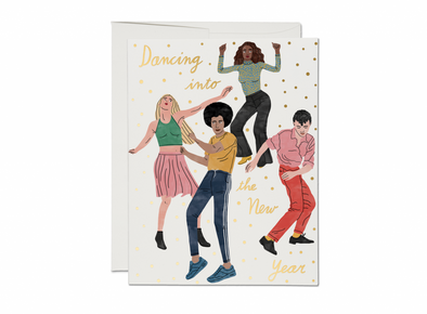 Dancing into the New Year FOIL Holiday card