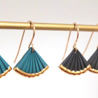 Gold Dipped Fan Dangle Earrings
