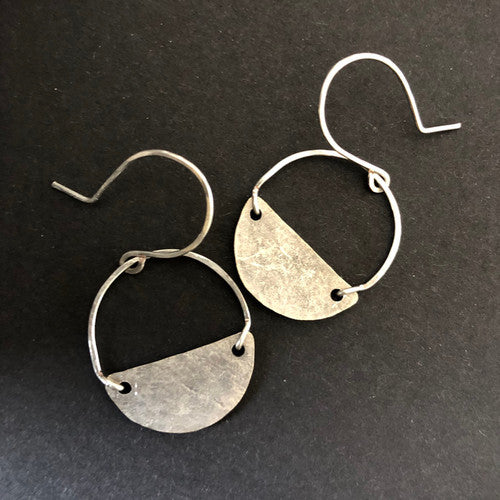 Bijou Half Moon Earrings  (Silver Plated)