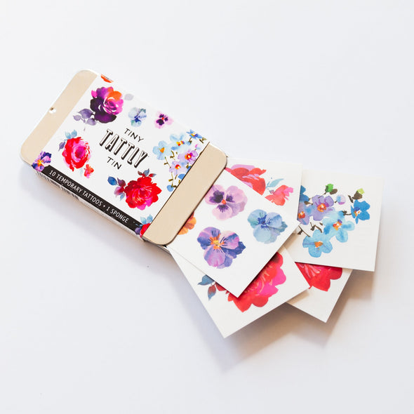 The Tiny Floral Tin Temporary Tattoo Set