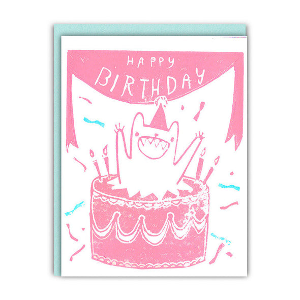 Jumping Out of a Cake Birthday Card