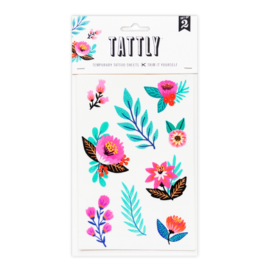 Flower Garden Temporary Tattoo Sheet