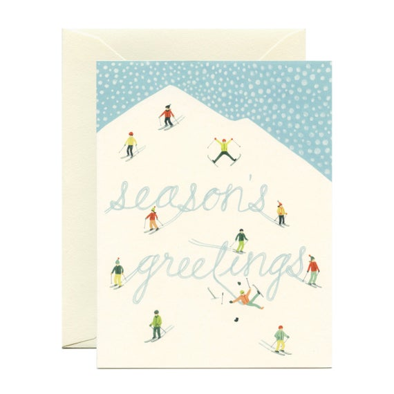 Skiers Holiday Card