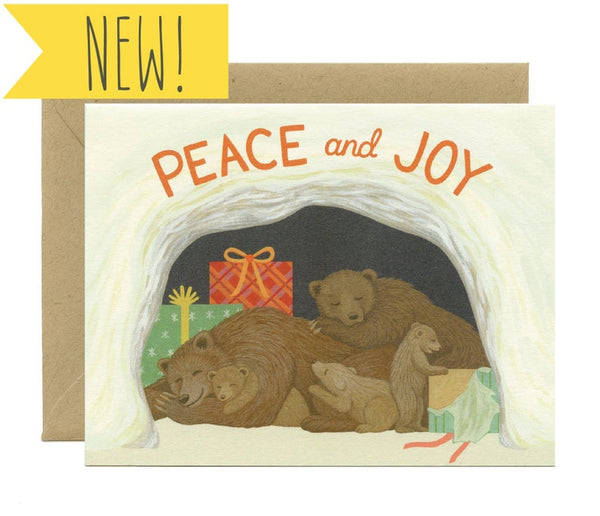 Hibernating Bears Holiday Card