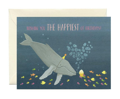 Whale and Fish Cupcake Birthday Card