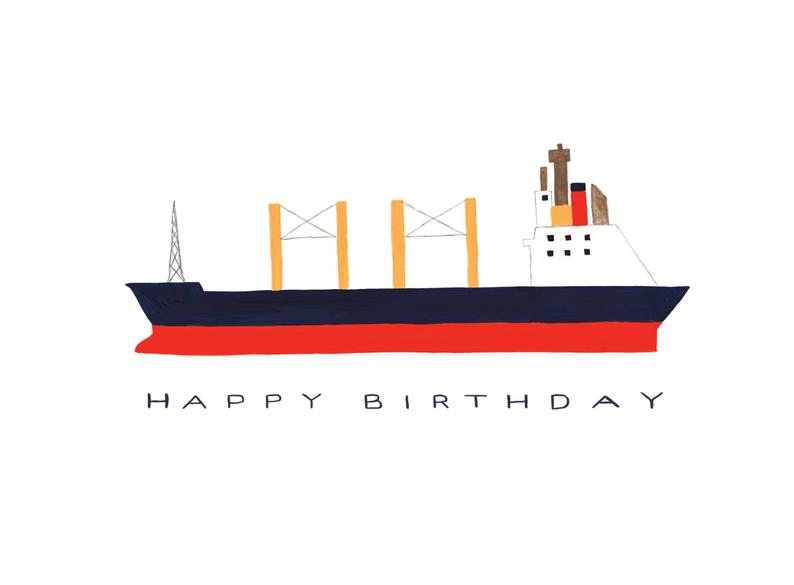Cargo Ship Birthday Card