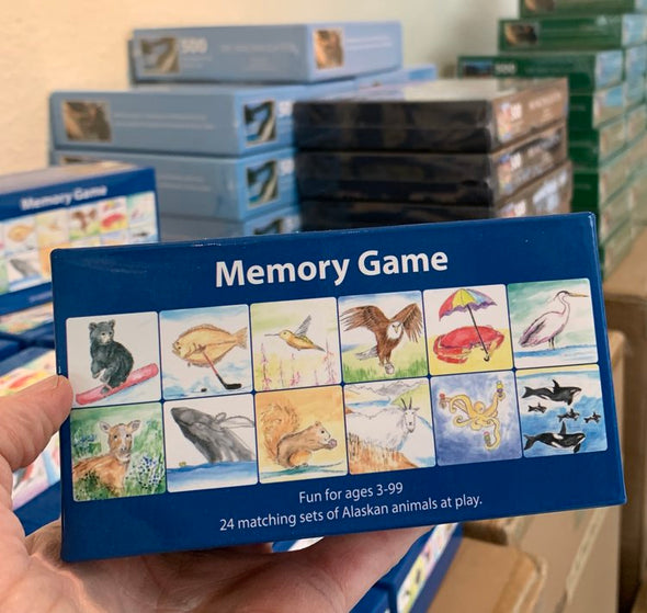 24 Alaskan Creatures At Play Memory Matching Game